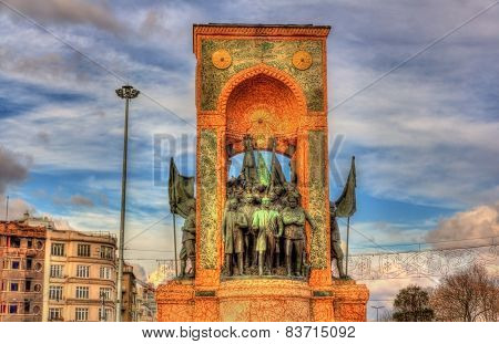 Monument Of The Republic On Taksim Square In Istanbul - Turkey