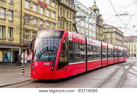 Bern, Switzerland - February 15: Siemens Combino Tram On Bubenbergplatz In Bern On February 15, 2015