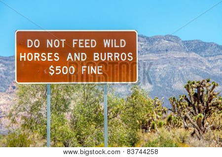 Sign: Do Not Feed Wild Horses and Burros