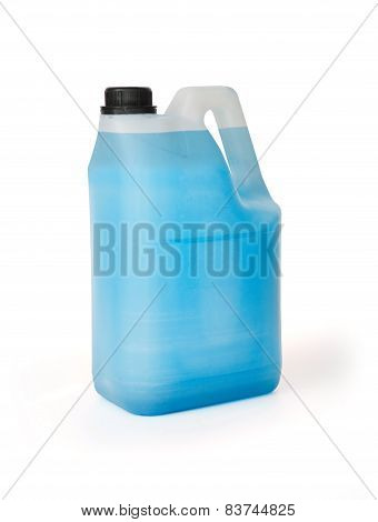 Plasti Tank Full Of Blu Chemical Liquid Isolated On White Background
