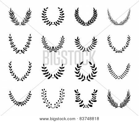 Set Of Hand Drawn Black Laurel Wreaths.