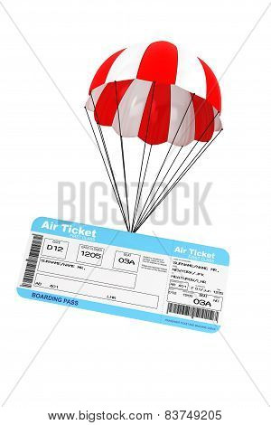 Air Ticket with Parachute on a white background poster