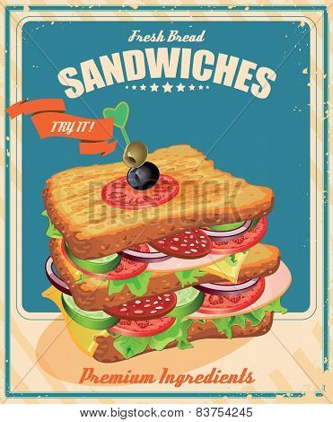 Sandwiches. Vector illustration. American style.