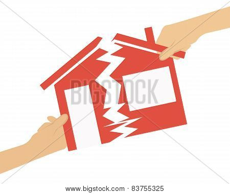 Inheritance. People divide the house in half. Vector illustration
