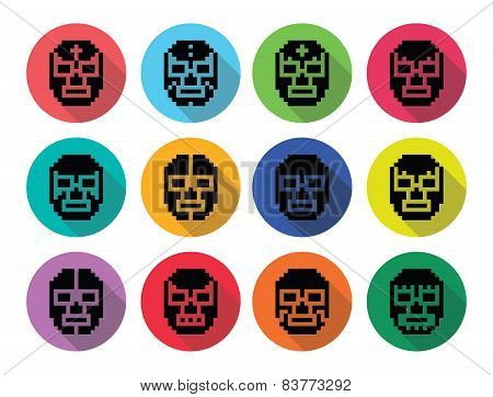 Lucha Libre, luchador pixelated Mexican wrestling masks black icons
