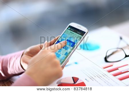 Modern people doing business graphs and charts being demonstrated