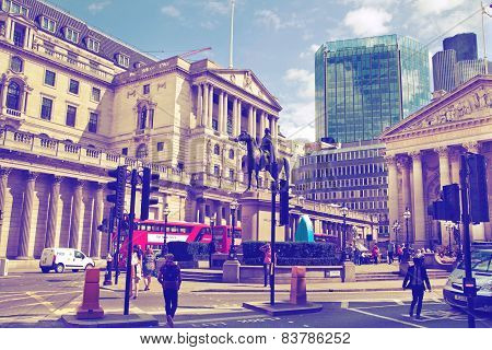 LONDON, UK - JUNE 30, 2014: Bank of England. Square and underground station