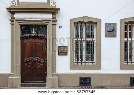 Commemorative Plaque On Facade Of Karl Marx House