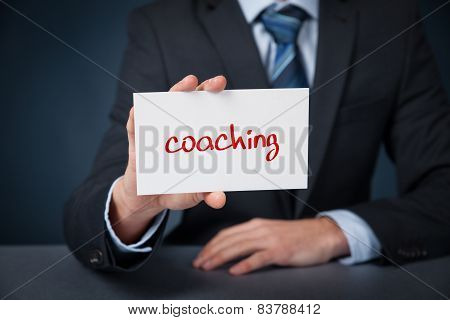 Coach advertisement concept. Man show card with text coaching. poster