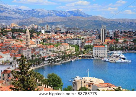 Split Croatia (region of Dalmatia). UNESCO World Heritage Site. Mosor mountains in background. poster