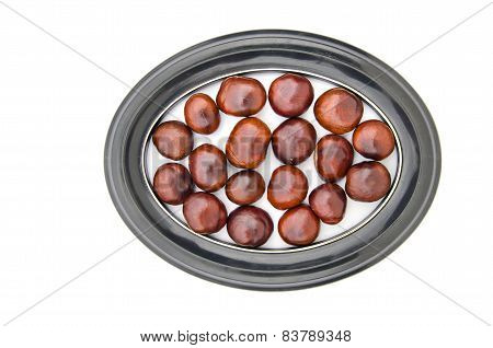 Conker Fruits Seeds Chesnuts In  Picture Oval Frame Isolated