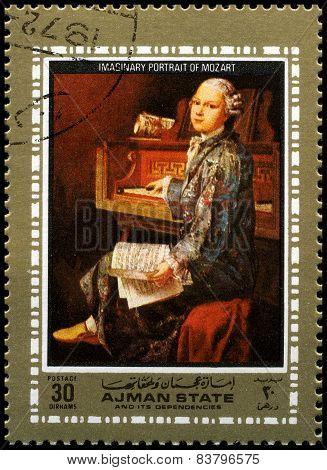Wolfgang Amadeus Mozart Used Postage Stamp