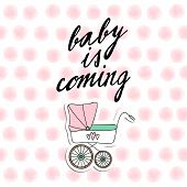 Cute baby shower invitation birthday card with baby carriage and watercolor dots vector illustration background poster