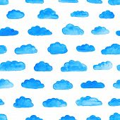 Watercolor Modern Pattern With Clouds.