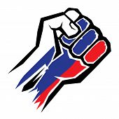 vector fist icon. fist colored in Russian flag color poster