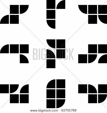 Abstract geometric simplistic symbols set, vector abstract icons.