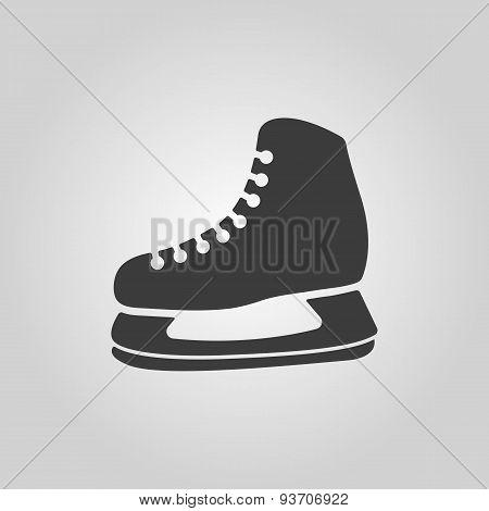 The Skates Icon. Hockey Skates Symbol. Flat
