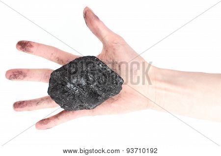 Woman Hand Holding Coal Lump On White Background