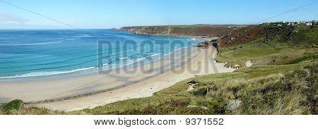 Sennen Cove Beach And Cape Cornwall Panorama, Cornwall Uk.