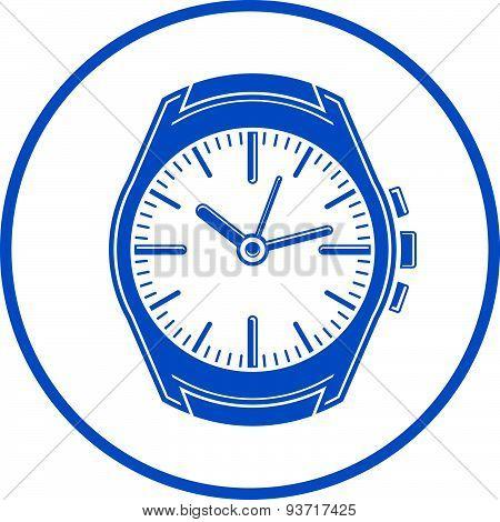 Simple wristwatch graphic illustration, classic hour hand symbol. Time management design element