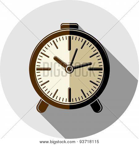 Wake up idea illustration. Classic three-dimensional alarm-clock isolated on white. Table clock.