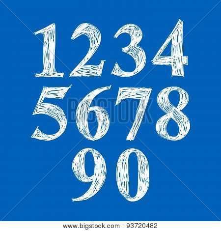 Calligraphic numbers drawn with ink brush, hand drawn vector numeration. poster