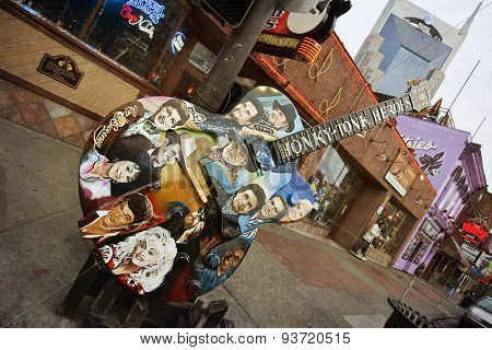 NASHVILLE, TENNESSEE-FEBRUARY 4, 2015:  Broadway Street in Nashville, Tennessee is the hub of the Honky Tonk district.