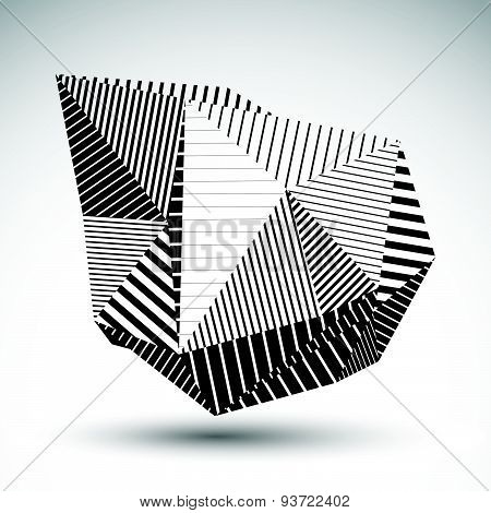 Decorative distorted eps8 element with parallel black lines. Multifaceted asymmetric contrast stenci