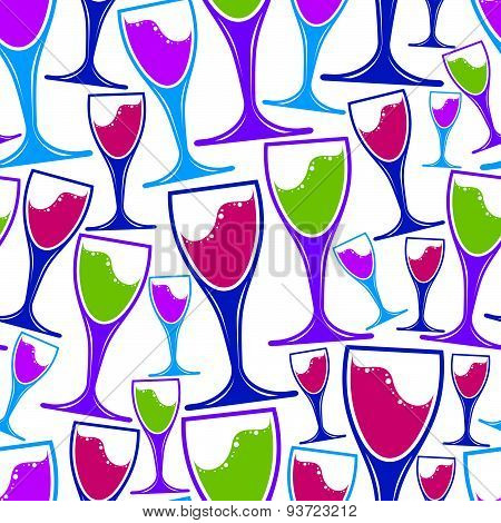 Winery theme vector seamless pattern, decorative stylish wine goblets. Wine glass  symbol