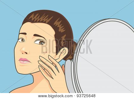 Women strain at back cosmetic mirror with problem acne face. Skin care concept poster