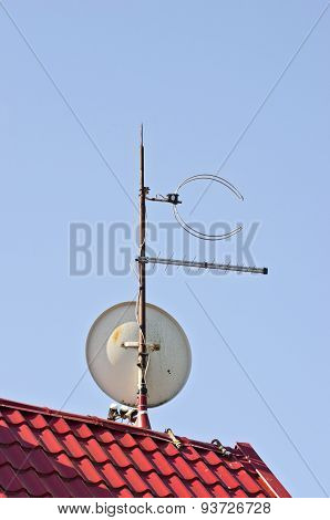 Satelite Dish Antenna On New Tiled Roof