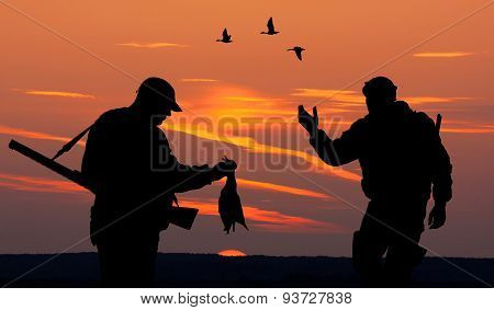 Two Hunters At Sunset