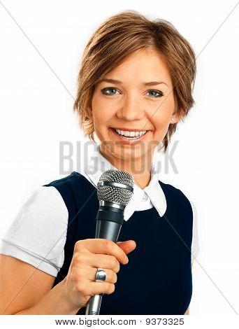 Tv Correspondent On White Background
