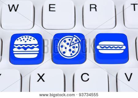 Ordering Pizza Hamburger Online Fast Food Order Delivery Fastfood Internet
