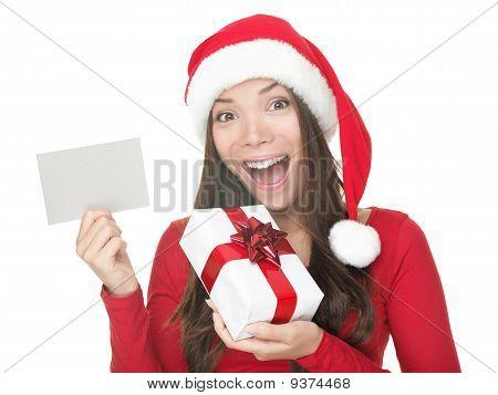Santa Girl Showing Blank Sign