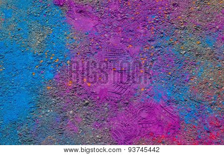 Colorful Powder Paint On The Ground