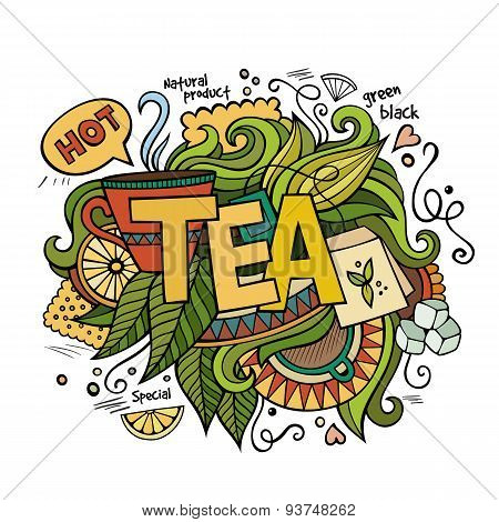 Tea hand lettering and doodles elements background