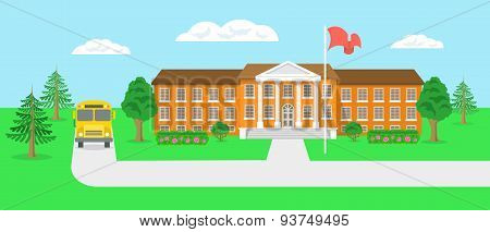 School Building And Yard Flat Landscape Vector Illustration