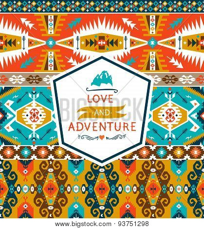 Seamless colorful decorative geometric pattern in tribal style