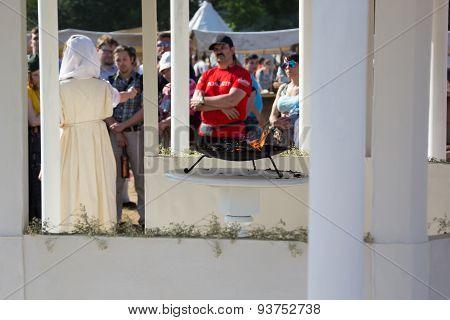 Priestess In Temple Near The Brazier