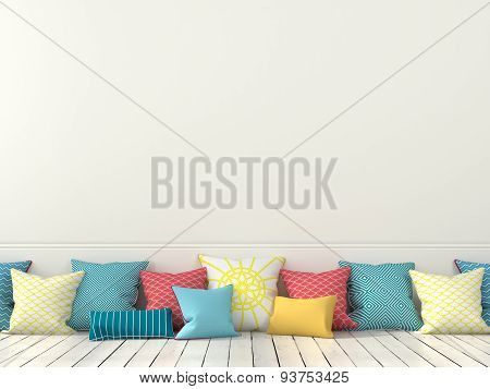 Colorful Cushions And A White Wall