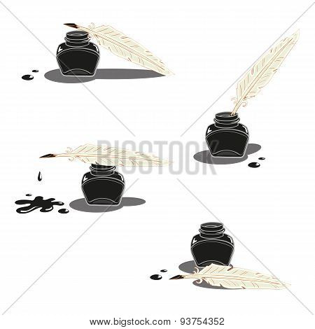 Inkwell And Pen Vector