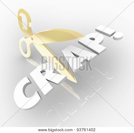 Cut the Crap words with gold scissors reducing waste and inefficiency to increase productivity and efficiencies across your organization