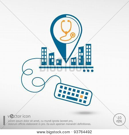 Stethoscope  Icon And Keyboard