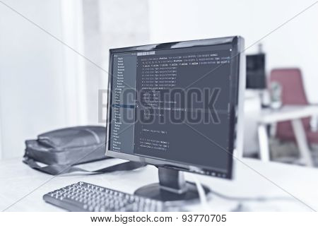 Web Site Codes On Computer Monitor At Office