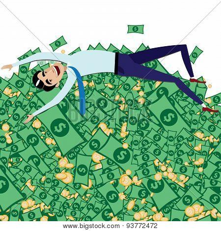 Happy Businessman Lying On Big Pile Of Money