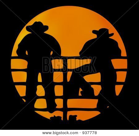 Two Cowboys And Full Moon