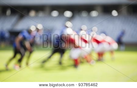 American football game - out of focus background