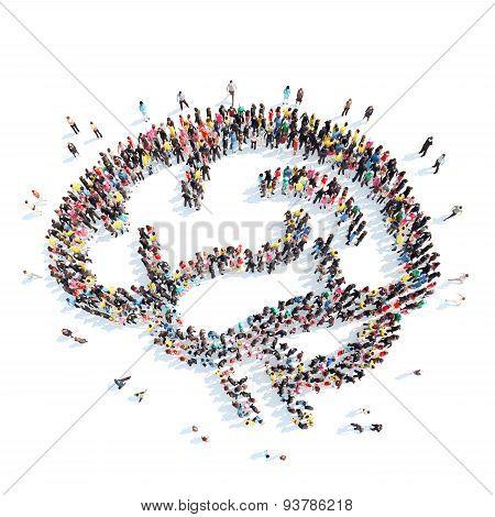 people in the shape of brain.