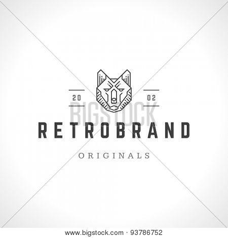 Wolf face logo line art emblem template mascot symbol for business or shirt design. Vector Vintage Design Element.